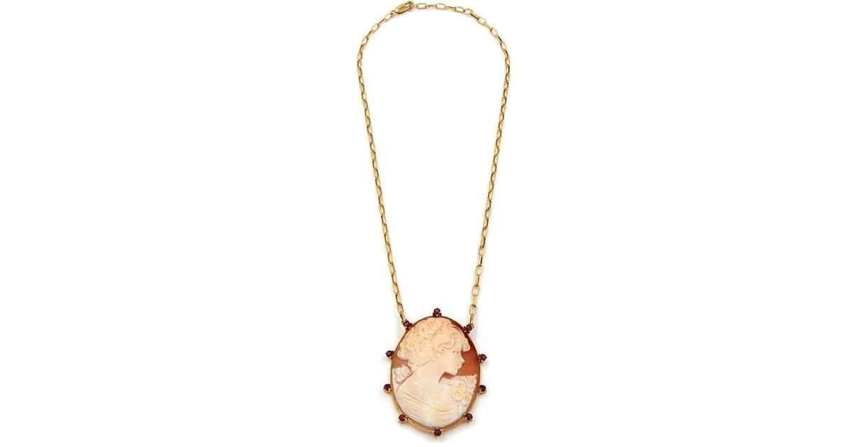 Rina Limor Lovely Cameo Pendant on Pearl Necklace z7GhO4d