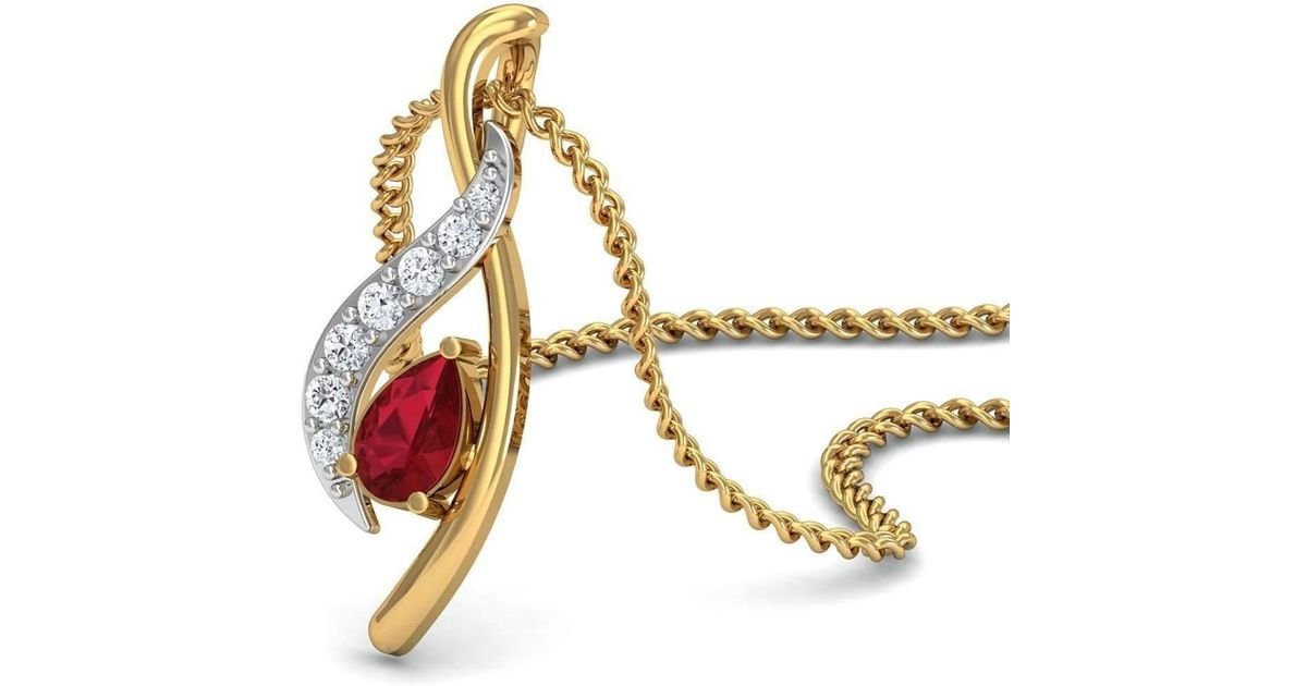 Diamoire Jewels Premium Quality Diamonds and Ruby Pendant Nature Inspired in 18kt Yellow Gold AXWK7