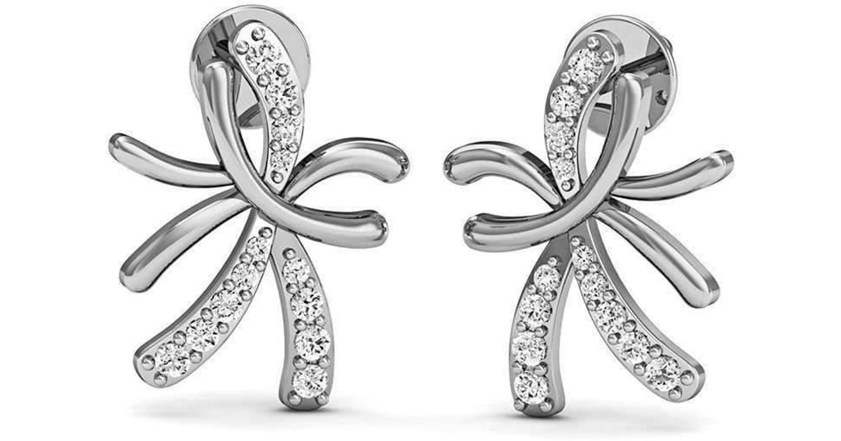 Diamoire Jewels 14kt White Gold and Diamond Floral Pave Earrings K9DY8S