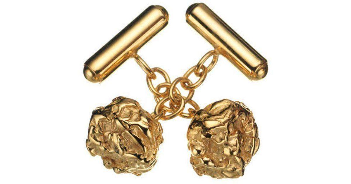 Deborah Blyth Jewellery Zander Gold Nugget Cufflinks POsETucu
