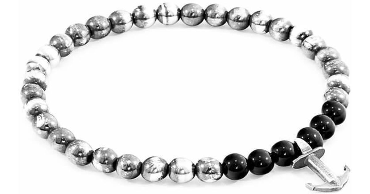 Anchor & Crew White Howlite Keel Silver And Stone Bracelet - 19cm (most popular) 8wPUsK