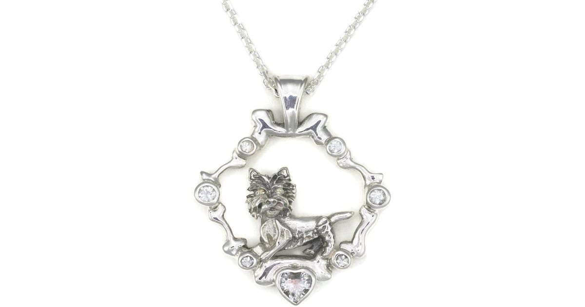 Donna Pizarro Designs Sterling Silver And White Sapphire West Highland White Terrier Westie Pendant hbfvtMmptk