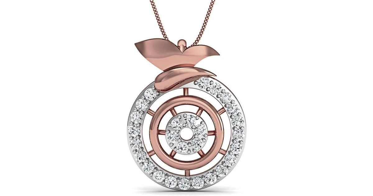 Diamoire Jewels Inspired by Nature 18kt Rose Gold Pave Designer Diamond Pendant FiXDkvc