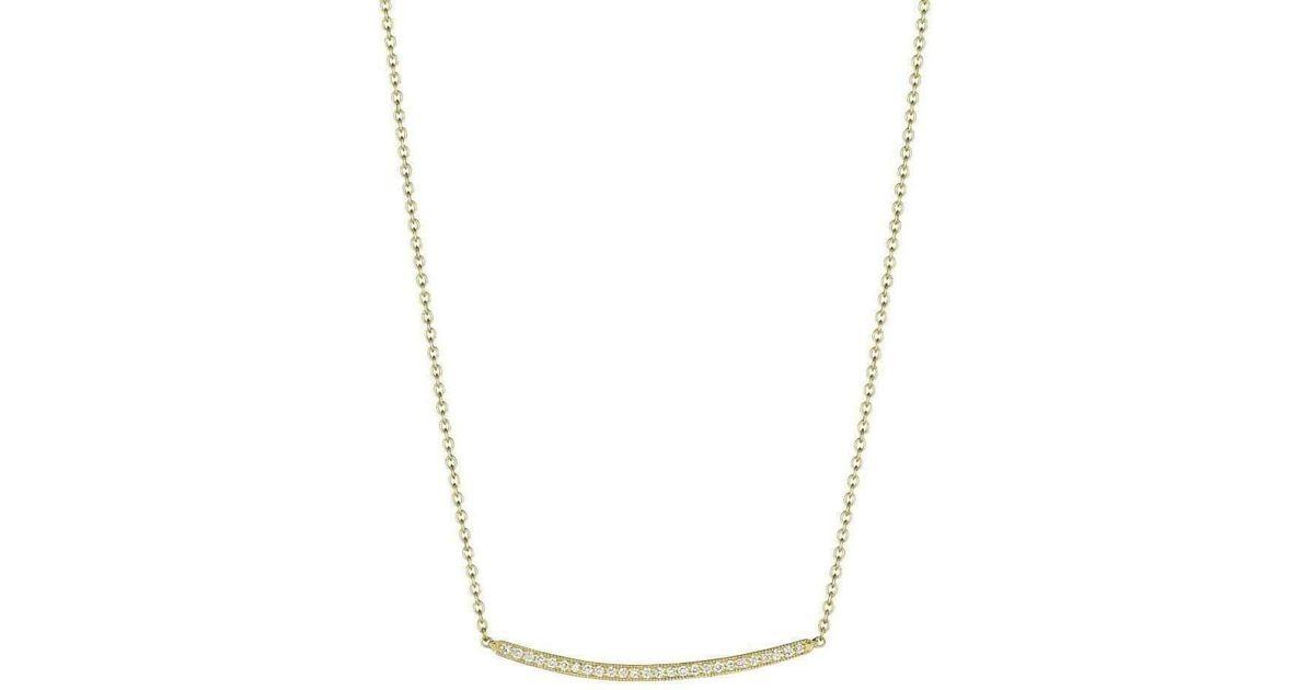 Penny Preville Thin Diamond Pavé Green Gold Bar Necklace mSrzt