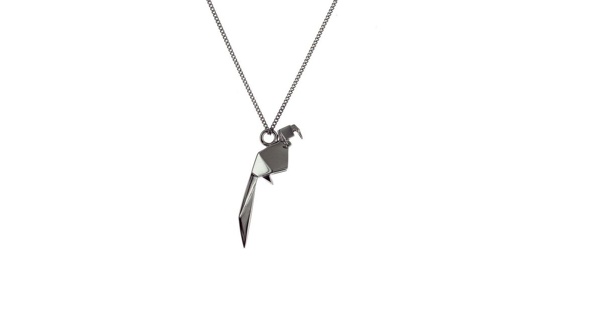 Origami Jewellery Black Silver Parrot Origami Necklace rEf5p