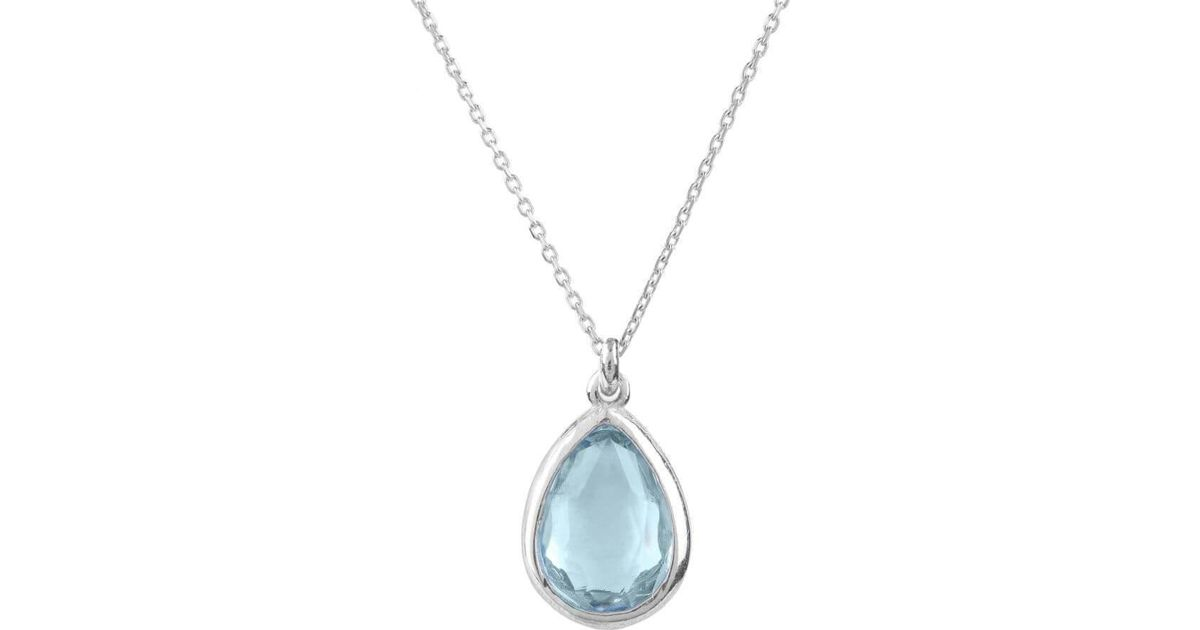 Latelita London Pisa Mini Teardrop Necklace Silver Blue Topaz EYFt1gPim