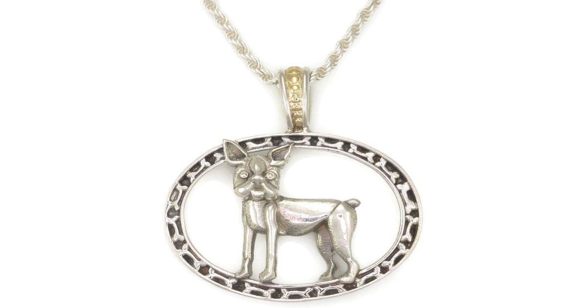 Donna Pizarro Designs Sterling Silver Boston Terrier Necklace CUyE56WZ