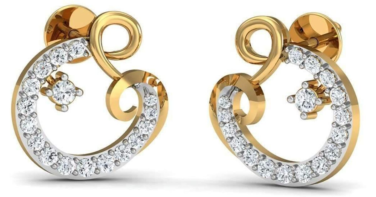 Diamoire Jewels Hand-carved 10kt Yellow Gold and Premium Quality Diamond Earrings kXg5c3h5F