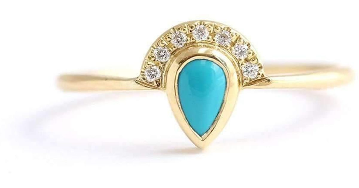 rose rings turquoise set audry engagement diamond