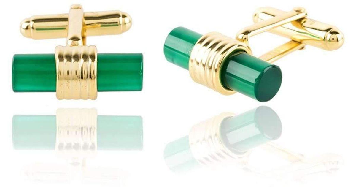 Latelita London Cylindrical Cufflink Gold Green Onyx PXnKou2OOz