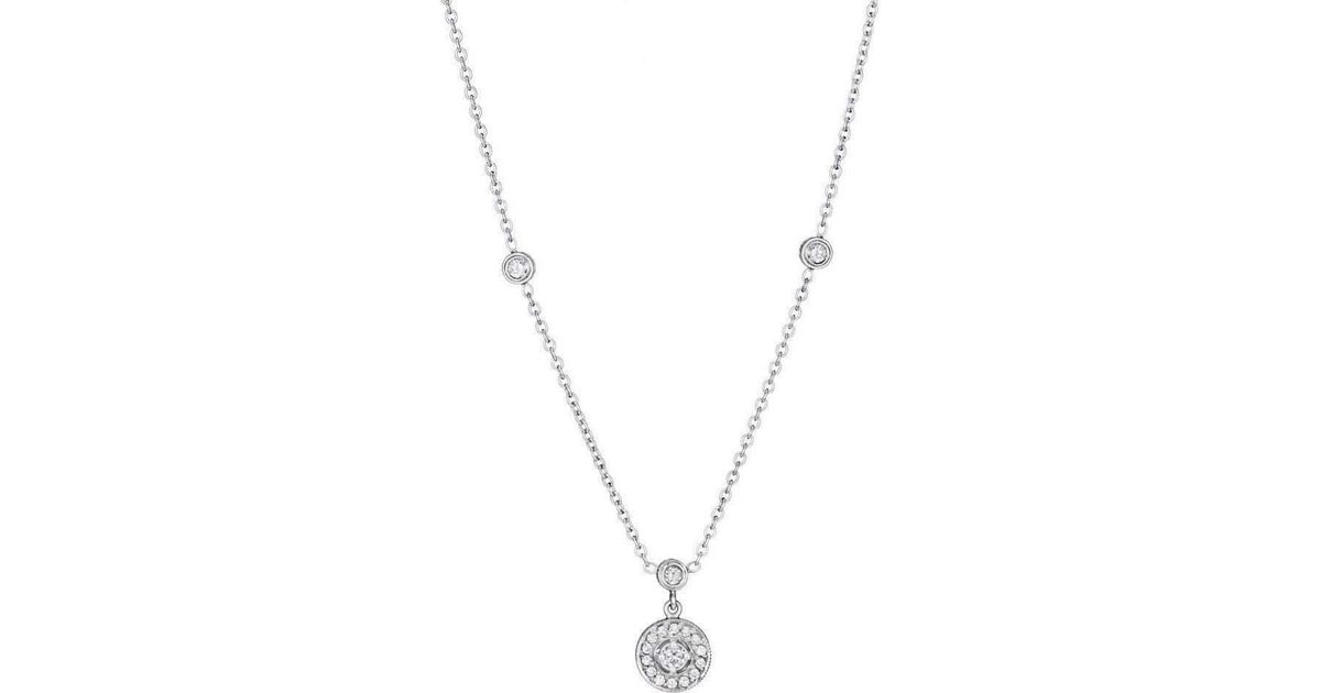 Penny Preville Diamond Pavé Round Gold Necklace with Three Bezels C8vfWw0