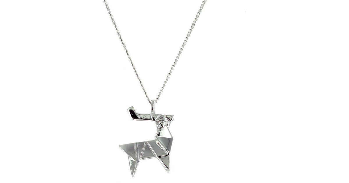 Lyst Origami Jewellery Sterling Silver Mini Deer Origami Necklace