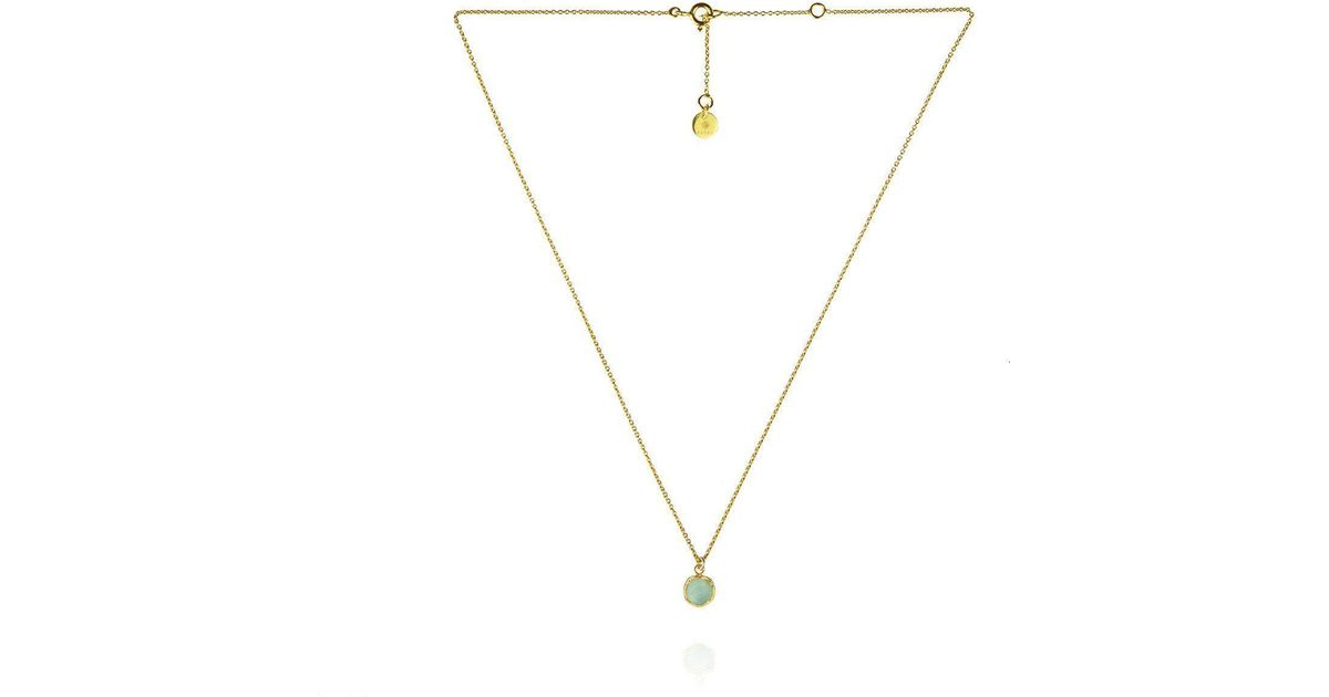 Zefyr Dosha Necklace Gold With Aqua Chalcedony zmmmH