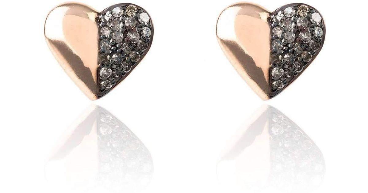 Latelita London Diamond Half and Half Heart Earring QqWyFldPXS