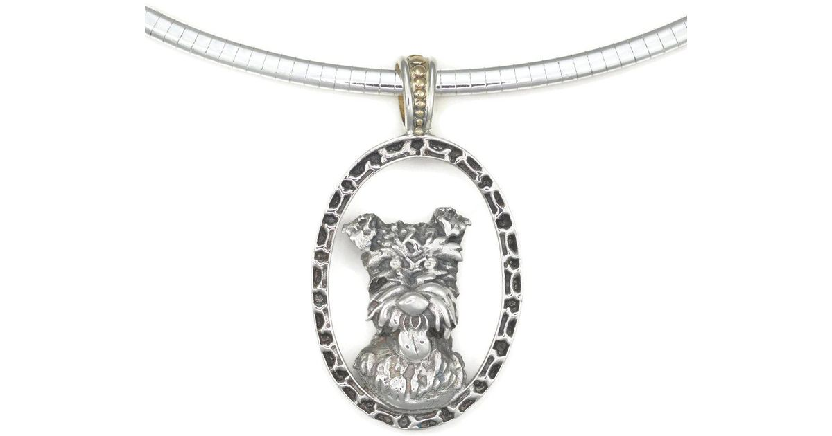 Donna Pizarro Designs Sterling Silver Wire Haired Fox Terrier Necklace With 14kt Accent o9QLm