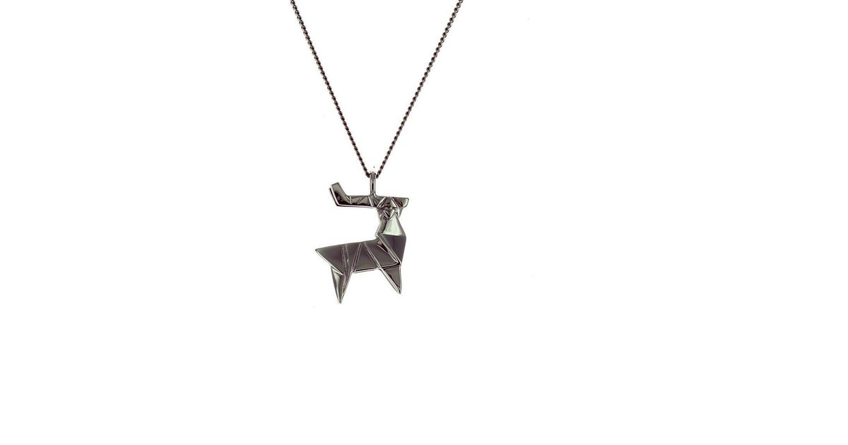 Origami Jewellery Black Silver Mini Crab Origami Necklace mw3seRG7t