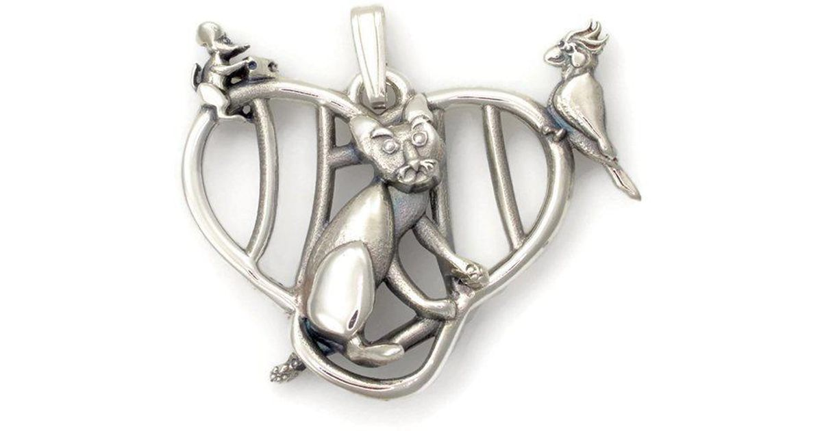 Donna Pizarro Designs Sterling Silver Cat, Mouse And Cockatiel Necklace