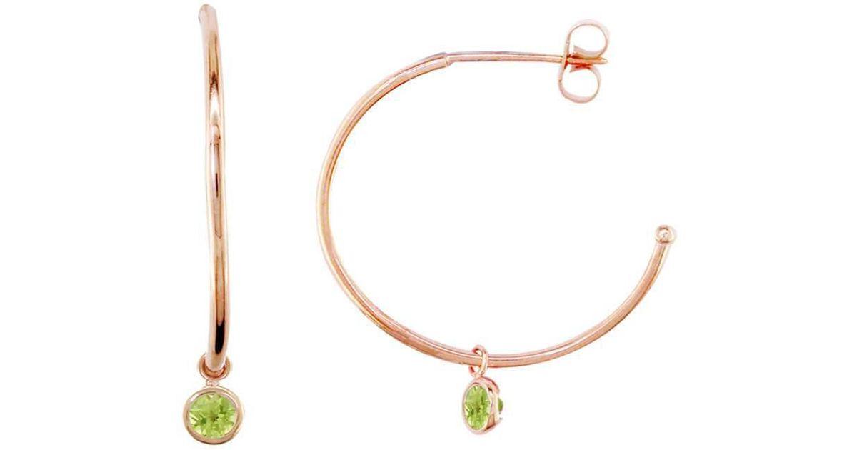 Lyst London Road Jewellery Dew Drop Rose Gold Peridot Hoop Earrings In Metallic