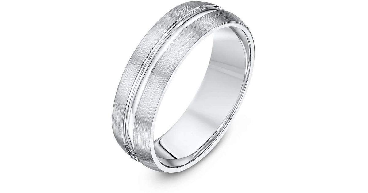 Lyst Star Wedding Rings Palladium Court Shape Matt Polished