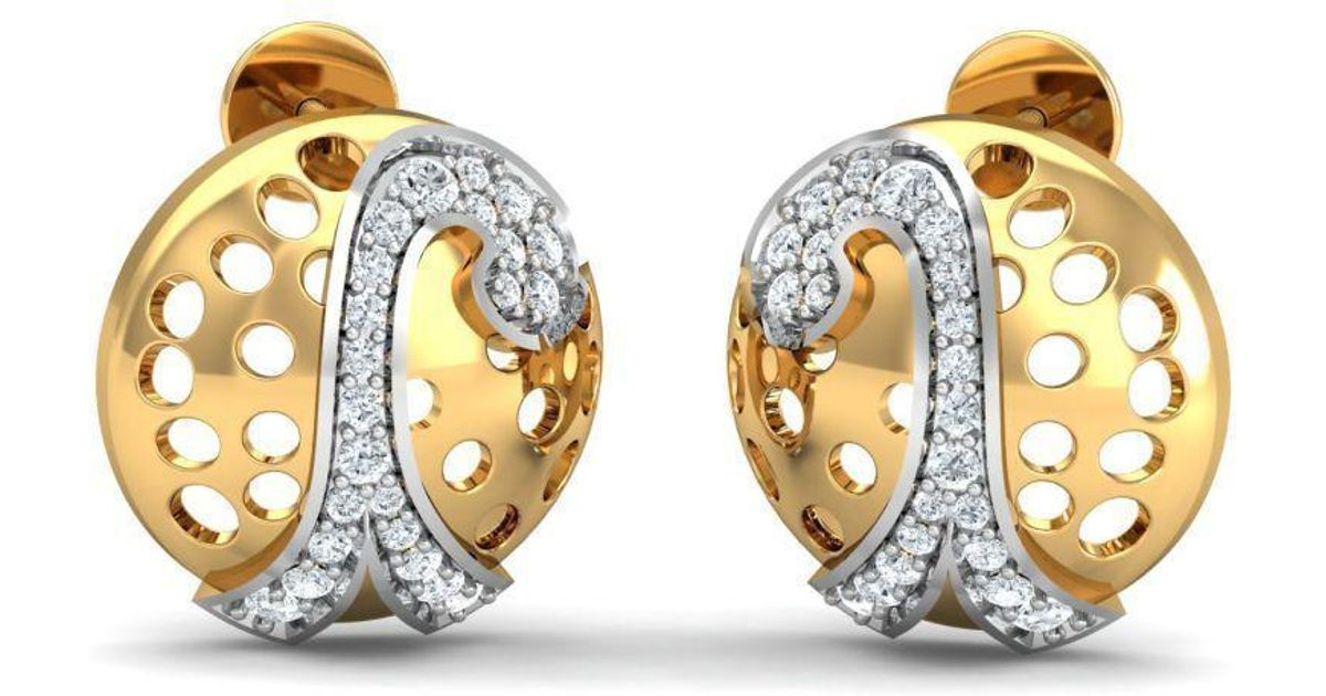 Diamoire Jewels 18kt Yellow Gold 0.34ct Pave Diamond Infinity Earrings II Ng3aB72
