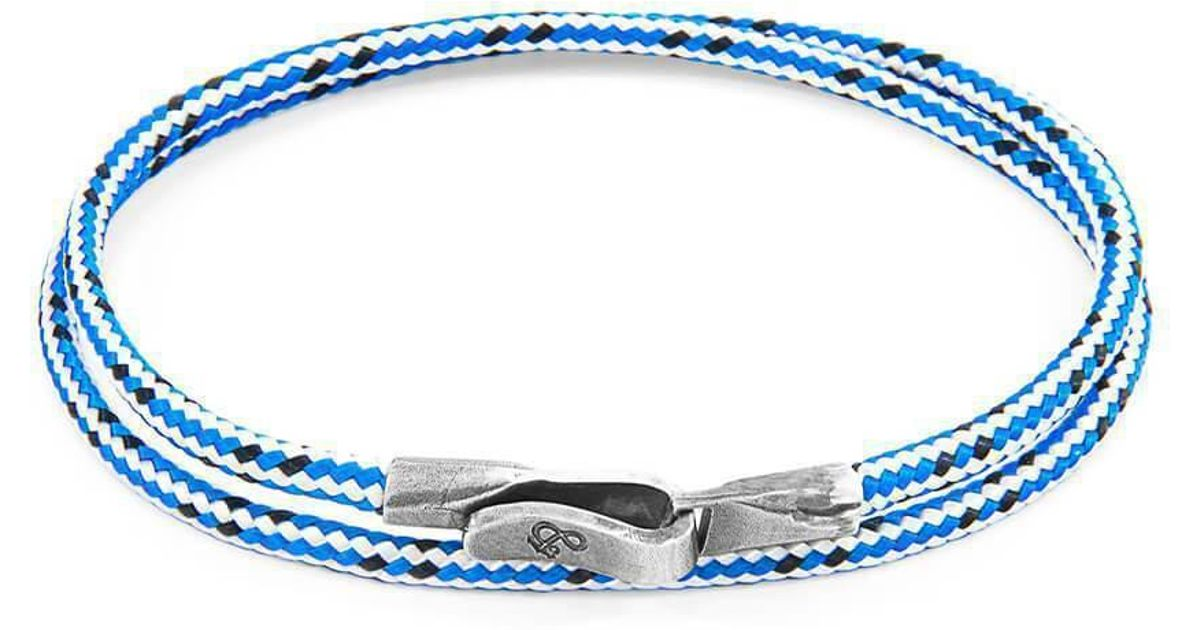 Anchor & Crew Yellow Noir Liverpool Silver And Rope Bracelet - 21cm (most popular) 0uA27wJPgN
