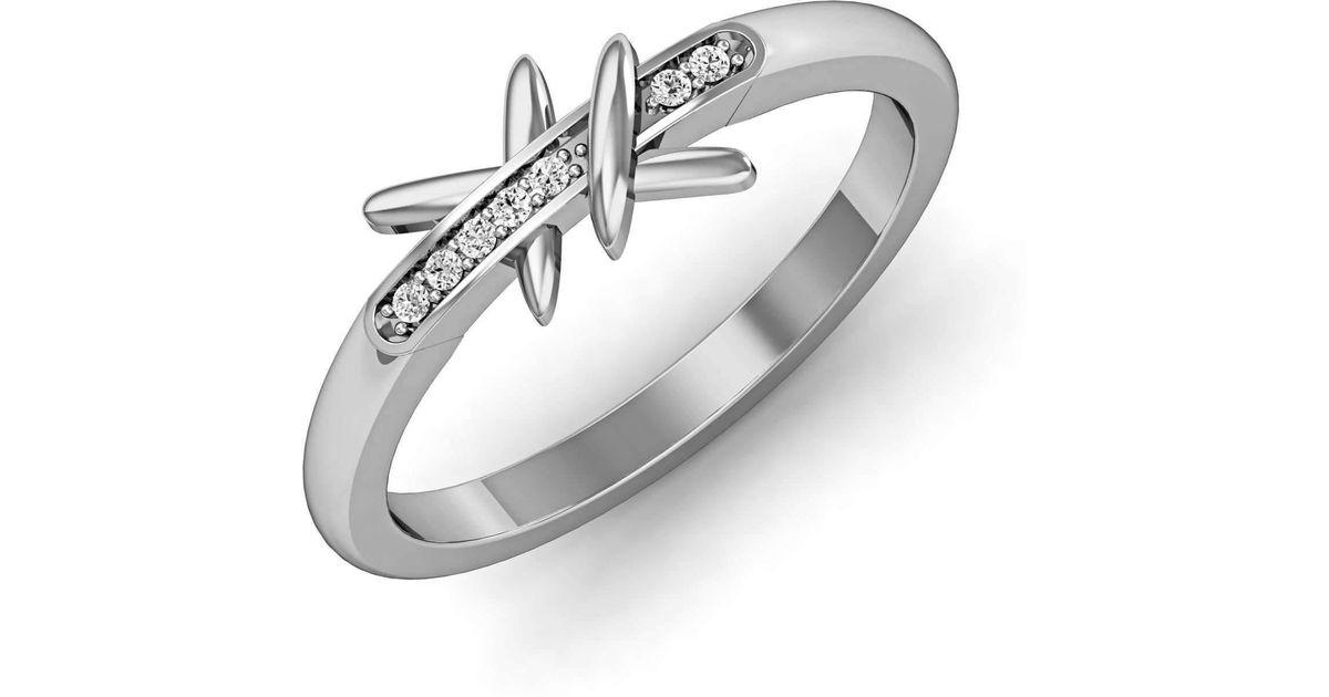 Diamoire Jewels Shining Round-cut Diamond Ring in White Gold QiIFr