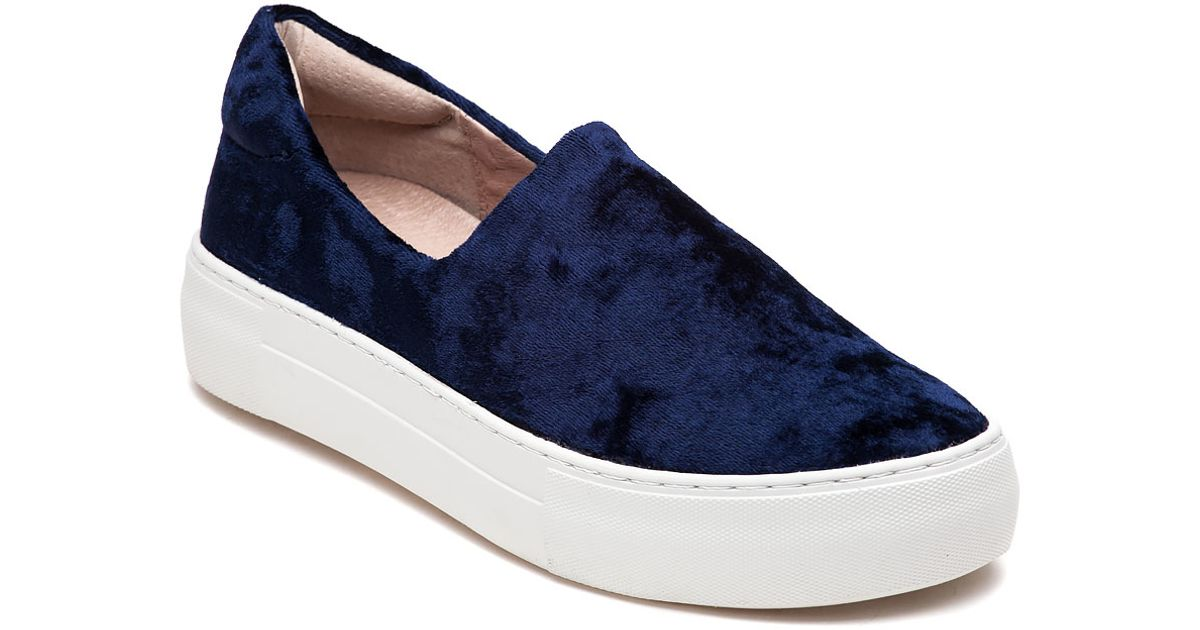 0253a7c00472 J Slides Angel Navy Velvet Slip On Sneaker in Blue - Lyst