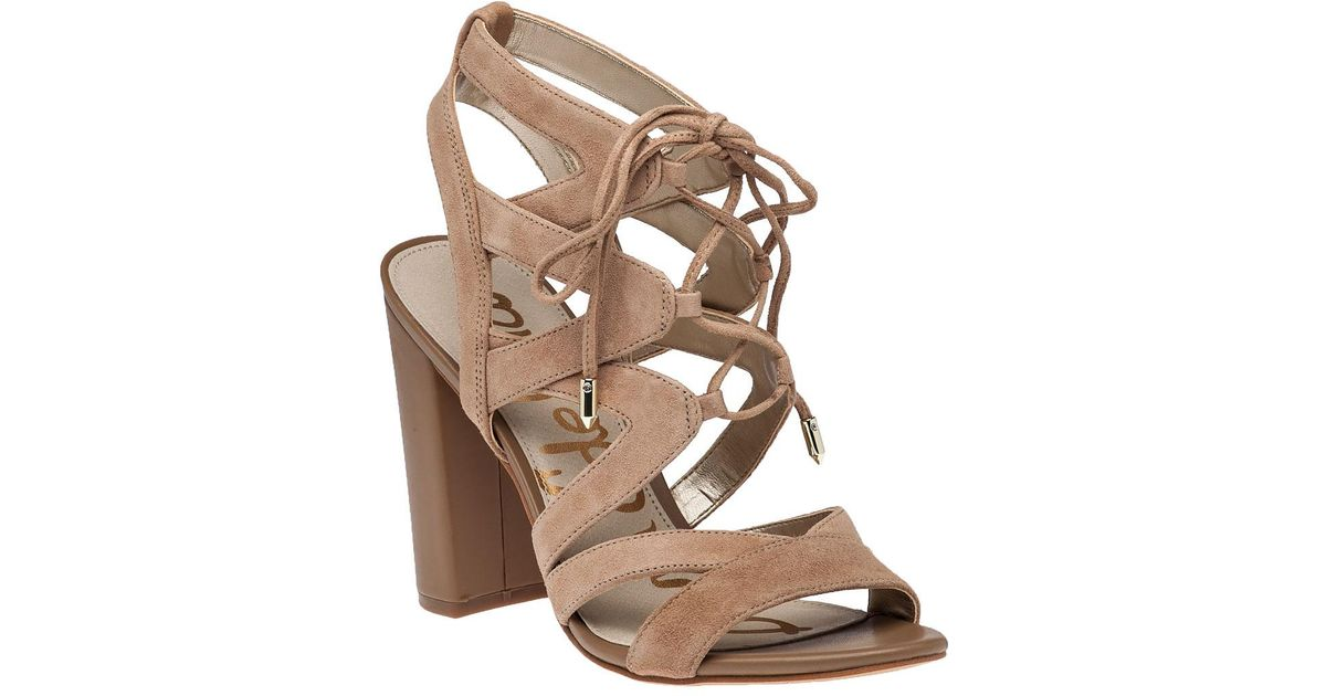 a4ee532b4bb1 Lyst - Sam Edelman Yardley Camel Suede Lace-up Sandal in Natural