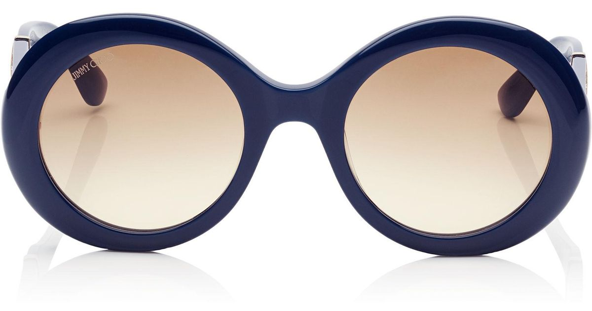 1ede132c3034 Jimmy Choo Wendy Blue Round Framed Sunglasses With Lurex Detailing in Blue  - Lyst