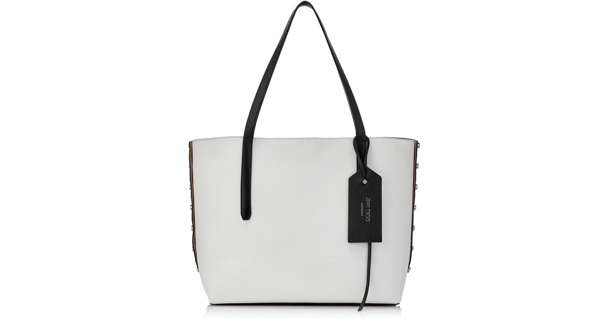 752d766c12 Lyst - Jimmy Choo Twist East West Black And Optical White Mix Leather Tote  Bag in Black