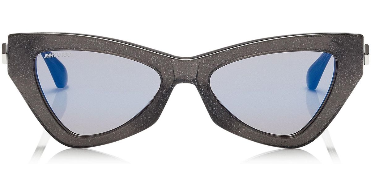 4bb112e112fb Jimmy Choo Donna Blue Sky Mirror Cat Eye Sunglasses With Grey Glitter - Lyst