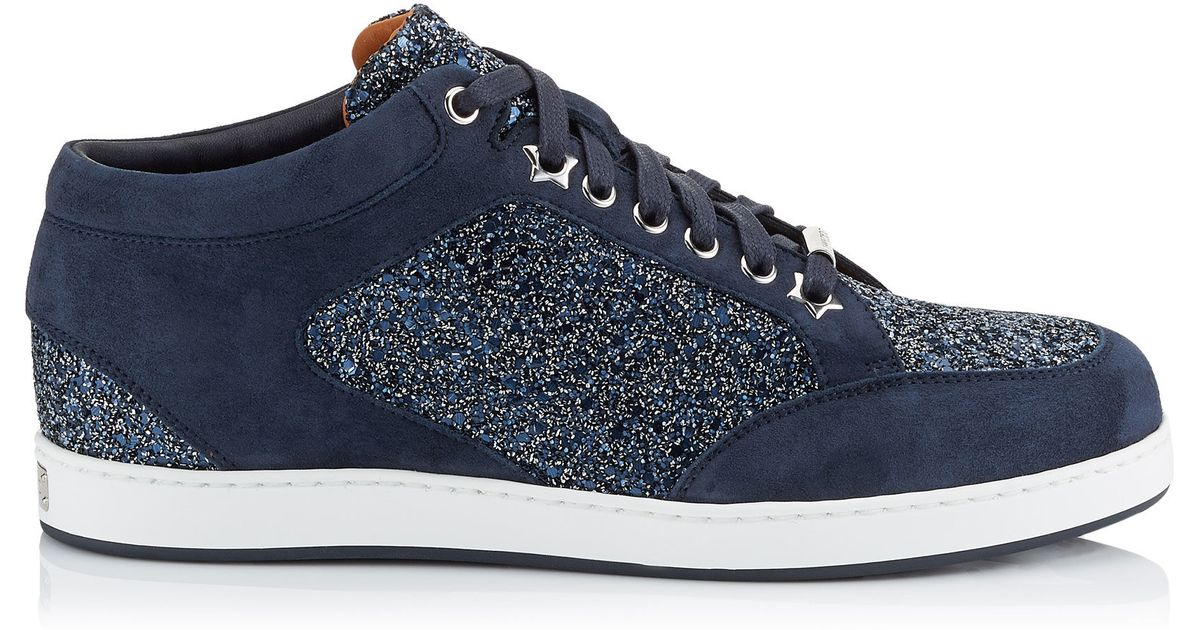 849d578f9bea Jimmy Choo Miami Navy Crackly Glitter Fabric Low Top Trainers in Blue - Lyst