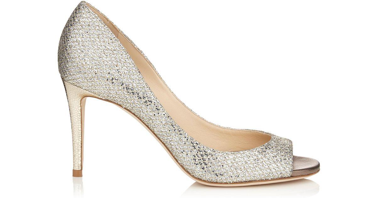 20e21d255136 Lyst - Jimmy Choo Evelyn 85 Champagne Glitter Fabric Peep Toe Pumps in  Metallic