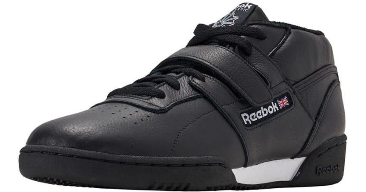 d2d601e067b1b Lyst Reebok Workout Clean Mid Strap Mu In Black For Men