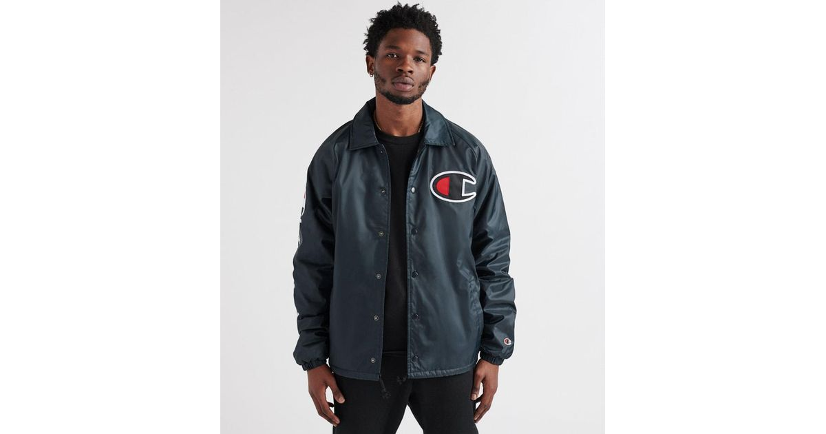 f1d50cc347a4 Champion Sherpa Lined Coaches Jacket in Black for Men - Lyst