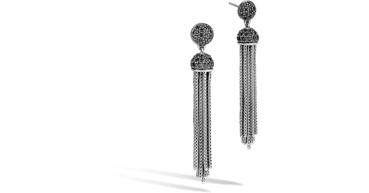 John Hardy Classic Chain Tassel Earrings with Black Sapphire & Black Spinel a5jhOoltQD