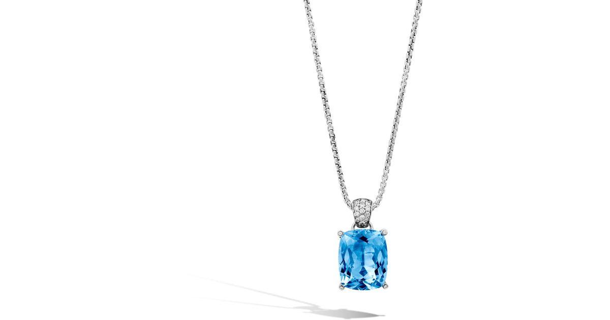 John Hardy Magic Cut Pendant With Blue Topaz And Diamonds TwoPrVv