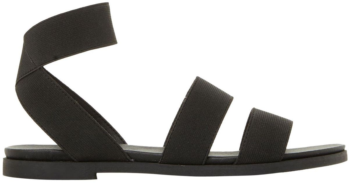 cea926e00d00 Steve Madden Delicious Strappy Flat Sandals in Black - Lyst