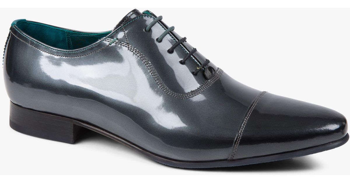 200394f5588d Ted Baker Sharney Patent Oxford Shoes in Gray for Men - Lyst