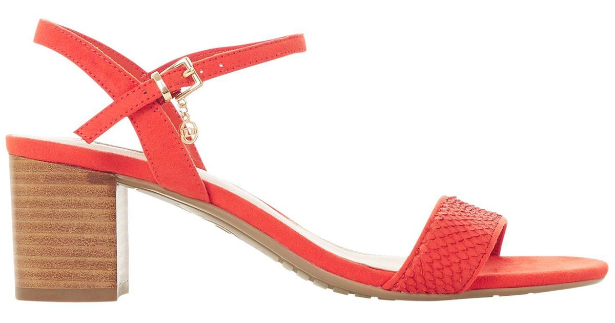 e5897e1f4624 Dune Jiggle Block Heel Sandals in Orange - Lyst