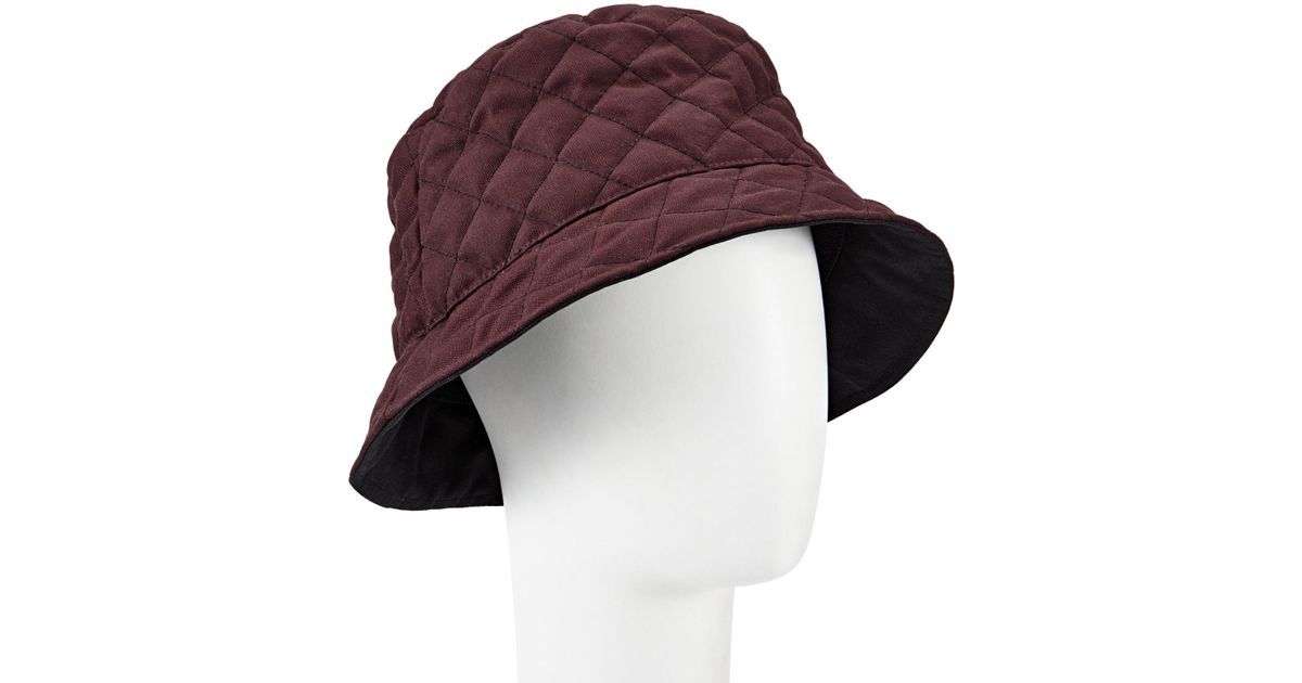 09fb35f6480 Lyst - John Lewis Quilted Waxed Bucket Rain Hat in Purple