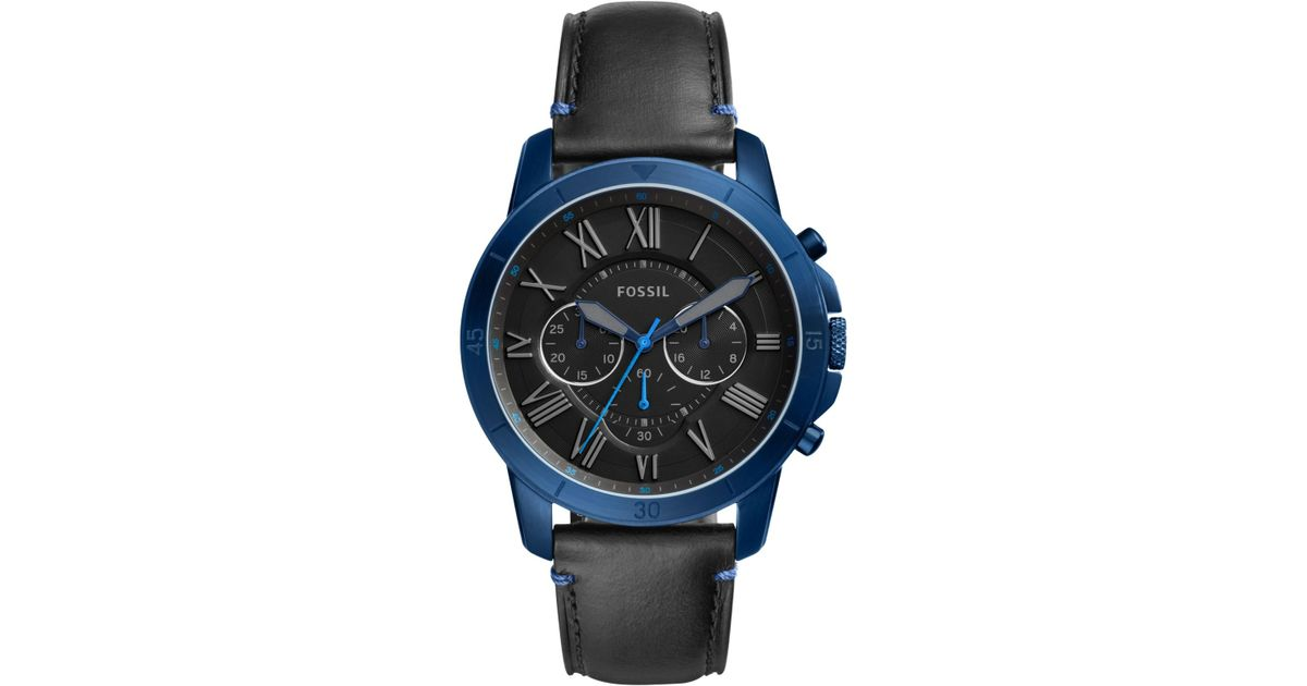 c2360316fa777 Fossil Fs5342 Men s Grant Chronograph Leather Strap Watch in Black for Men  - Lyst