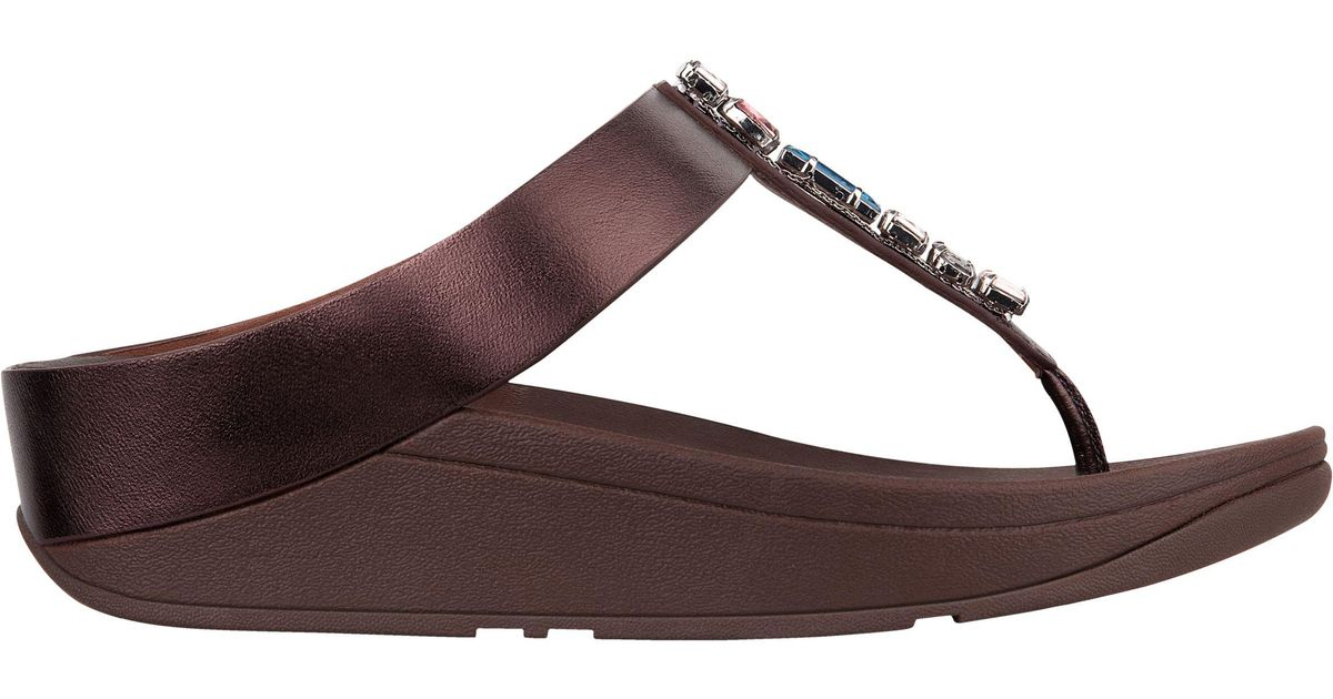 c45ee849b Fitflop Fino Bejewelled Toe Post Sandals in Brown - Lyst