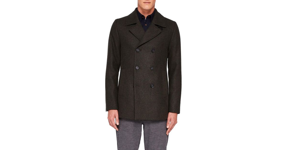 a501278f2cf9 Ted Baker Zachary Pea Coat in Green for Men - Lyst