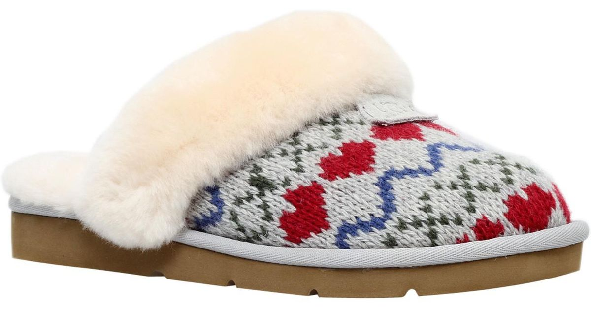Ugg Cosy Knit Heart Printed Sheepskin Slippers In Gray Lyst