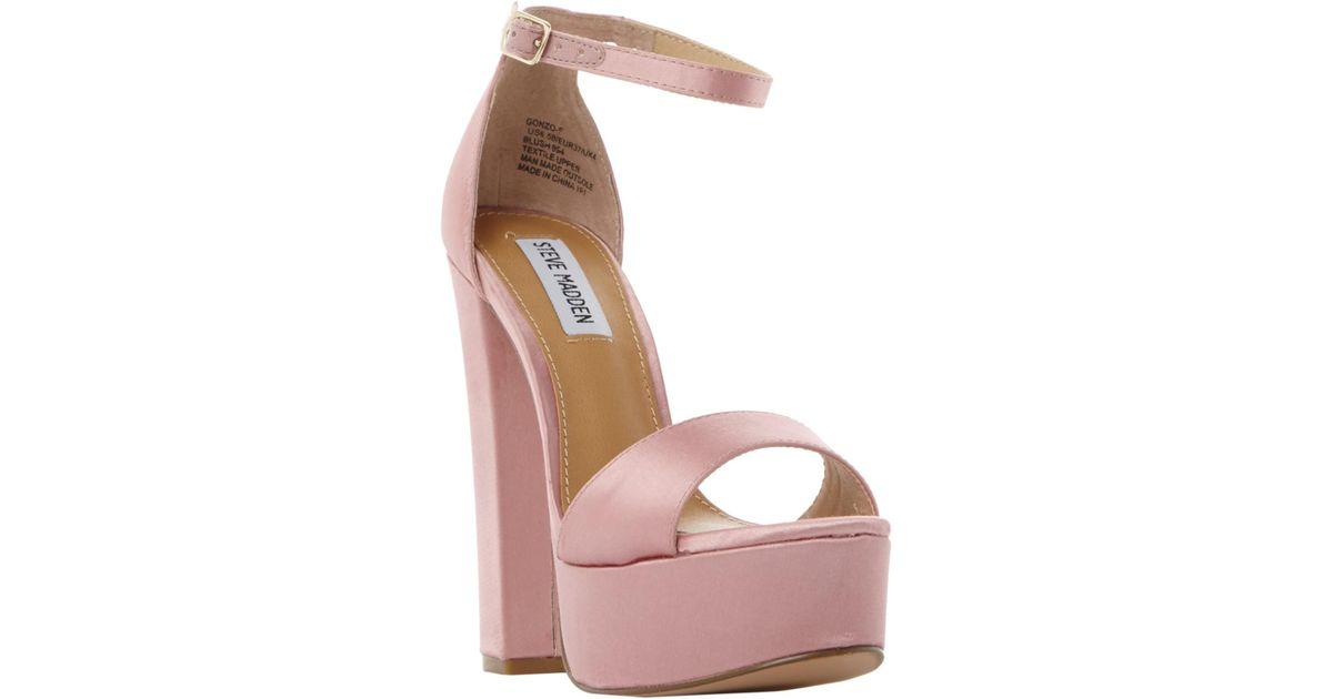 b0735dc3c334 Steve Madden Gonzo Platform Block Heeled Sandals in Pink - Lyst