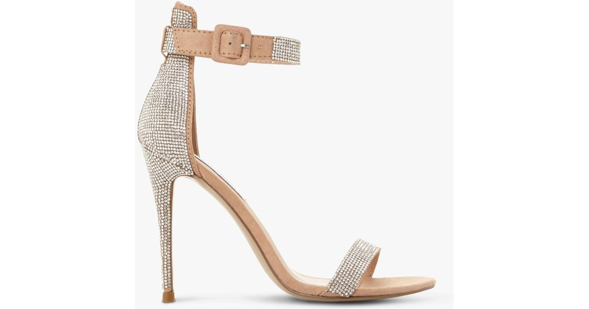 80b5474fff3 Steve Madden Mischa Embellished Ankle Strap Heeled Sandals in Metallic -  Lyst