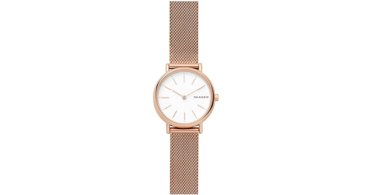 828a64ea8 Skagen Women's Signatur Mesh Bracelet Strap Watch in White - Lyst