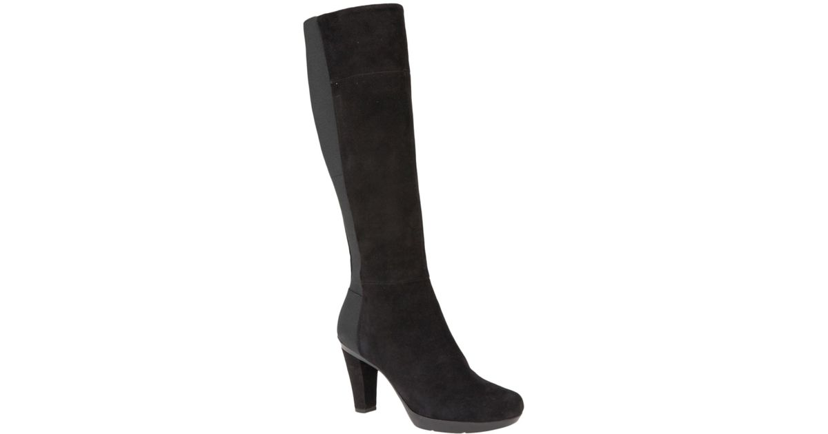 6fac839c249 Geox Inspiration Block Heeled Knee High Boots in Black - Lyst