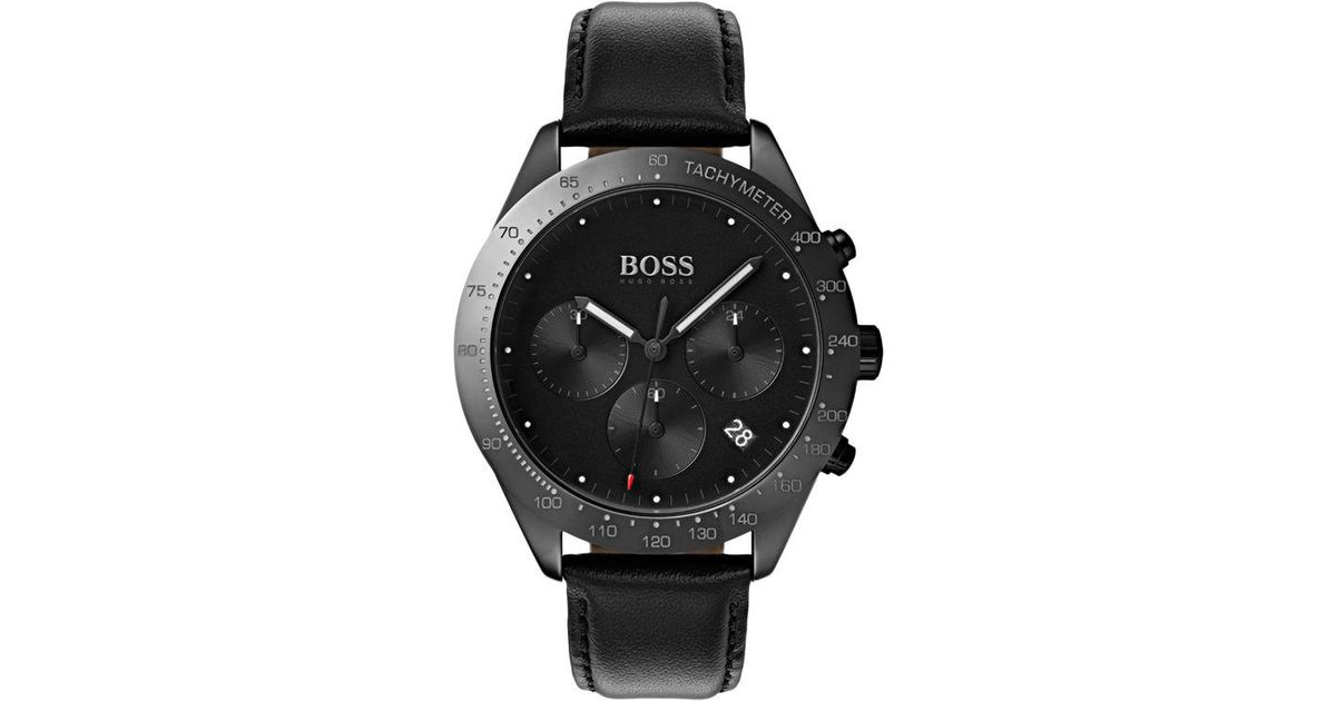 e6640fca5 BOSS 1513590 Men's Talent Chronograph Leather Strap Watch in Black for Men  - Lyst